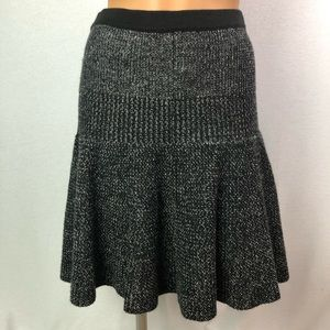 Cynthia Rowley charcoal knit stretch flared skirtS